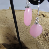 Rose Quartz Silver Plated earrings