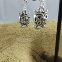 Silver Owl Charm earrings