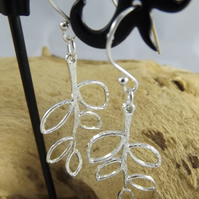Leaf Charm  silver plated dangle earrings