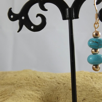 Turquoise rose gold plated dangle earrings