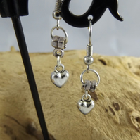 Puffed Heart Charm Silver Plated dangle earrings