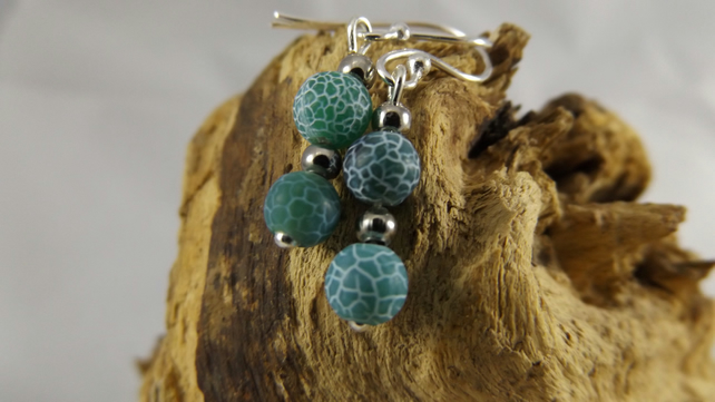 Blue green Dragon Vein Agate dangle earrings