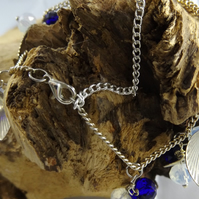 Silver plated leaf charm bracelet with crystals and moonstone