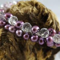 Plum cultured pearl and crystal wire wrapped bracelet