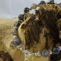 Dragon Vein Black Agate Bracelet