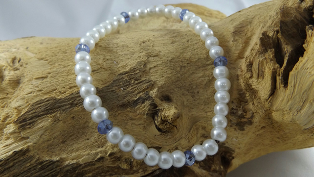 Bling white glass beads and blue crystal necklace for small dog