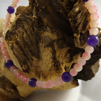 pink and purple beaded memory wire bracelet
