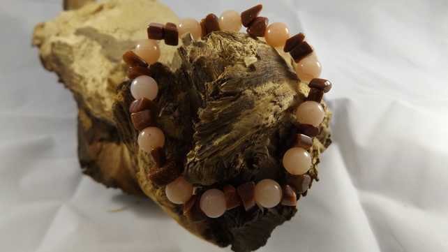 Pale Brown quartzite bead with sandstone stretch bracelet