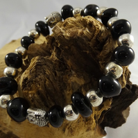 Black agate and silver plated buddha head stretch bracelet