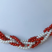 Red and White glass pearl silver plated necklace