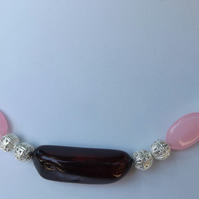 "16"" Rose quartz and red dyed clear quartz"