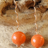 Coral colour shell pearl copper earrings