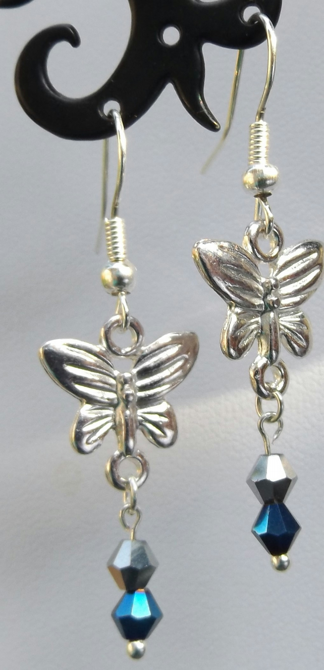 Silver Butterfly crystal blue and silver earrings