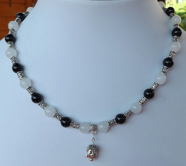 "Black agate and white Jade Buddha charm16"" Necklace"