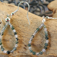 Pear shape moss agate sterling silver earrings
