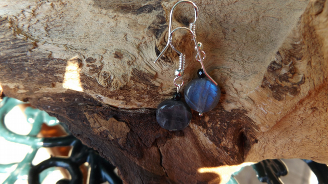 Labradorite and spinel earrings