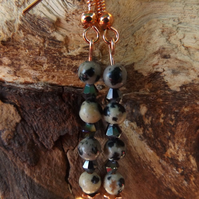 Dalmatian Jasper  and crystal earrings