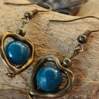 Bronze Heart charm earrings with chrysocolla centre