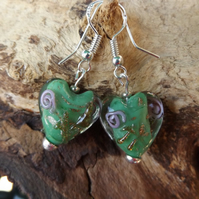 Heart green glass charm earrings with rose motif