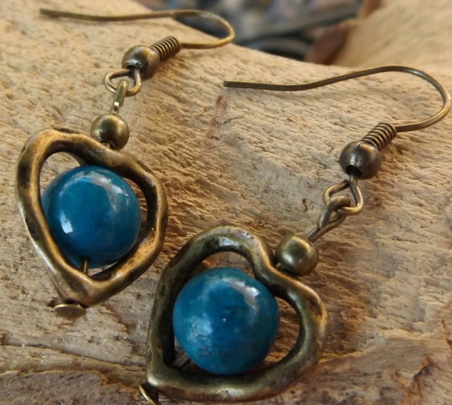 Bronze heart charm earrings with chrysocolla bead