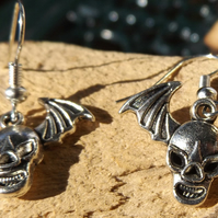 Bat Skull head earrings