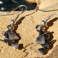 Witches on broomstick silver plated earrings