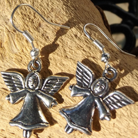 Angel charm silver plated earrings