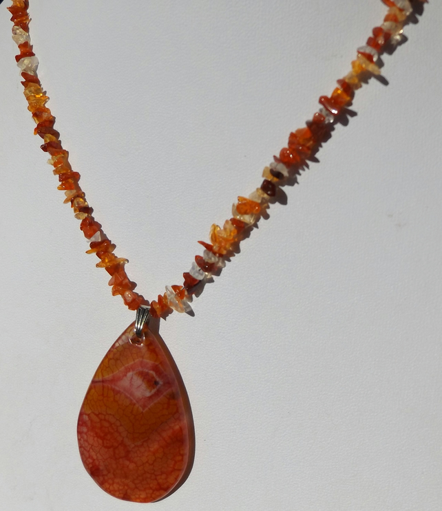Picture agate with fire opal sterling silver necklace