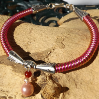 Pink and Copper wire bracelet with pink pearl a ruby and crystal