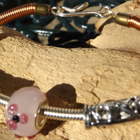 Copper wire with murano glass pink charm bracelet