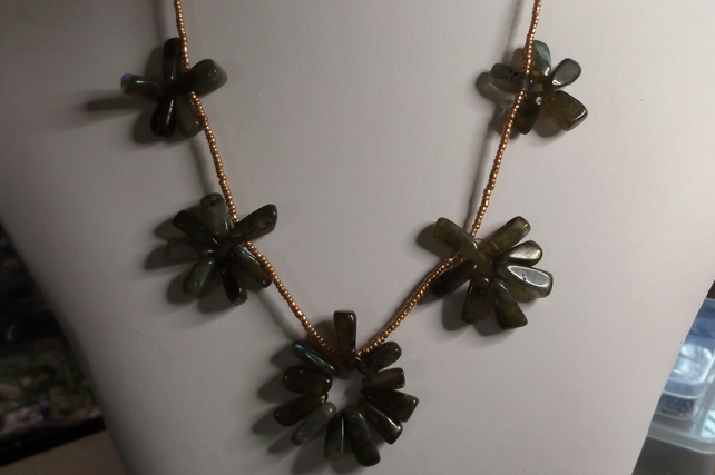 "24""  Labradorite necklace and rose gold plated chain"