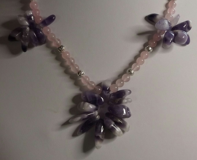 "22"" Amethyst and rose quartz silver plated necklace"