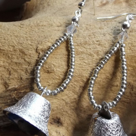 Silver bell earrings with crystal