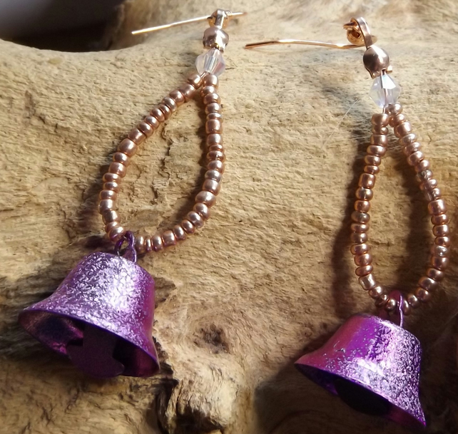 Purple Bell earrings with crystal
