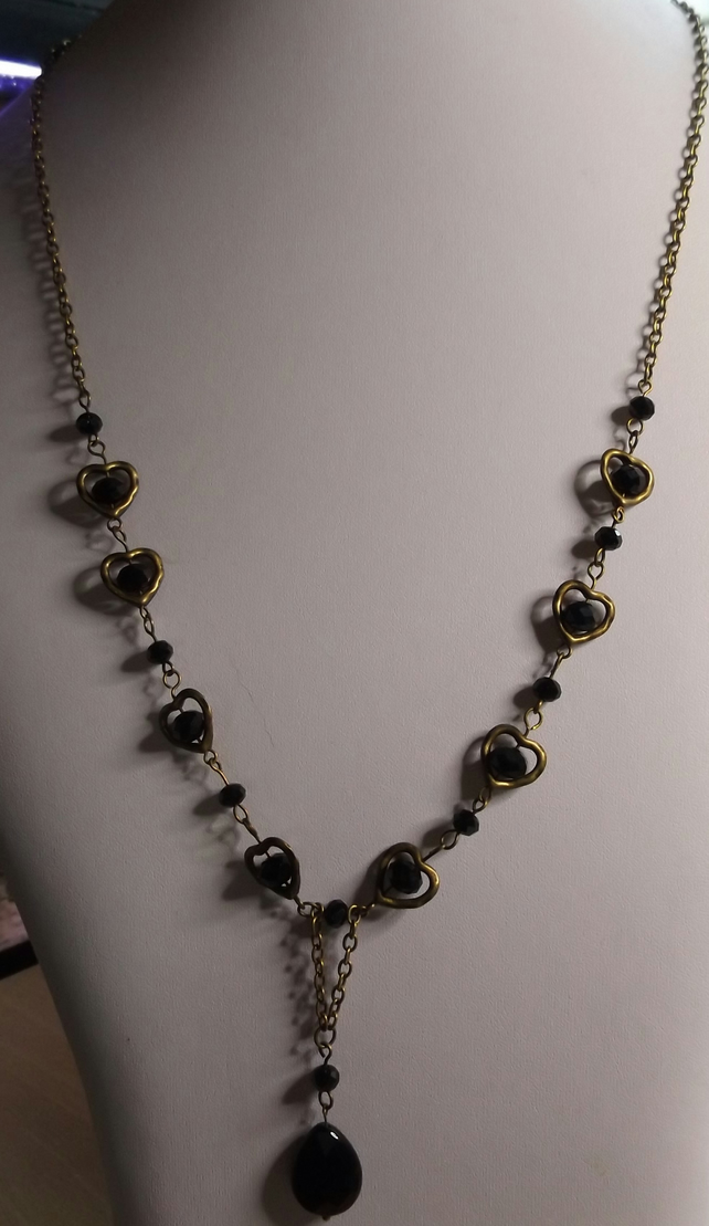 "bronze and black agate pear with crystal 28"" necklace"