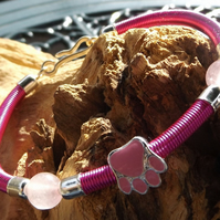 Paw Print dog charm hot pink wire bracelet