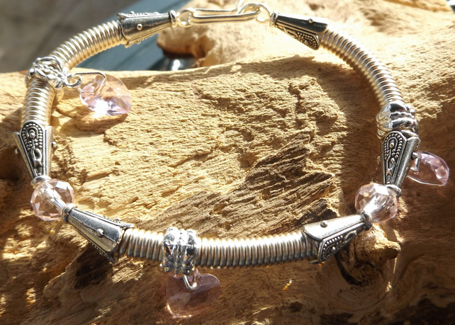 Silver plated pink crystal heart charm gizmo wire bracelet