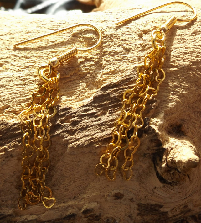 gold plated heart chain earrings
