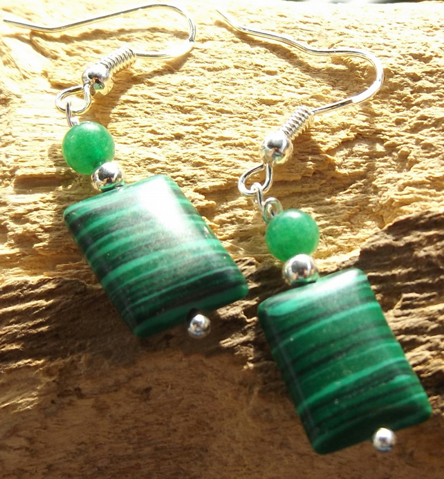Sterling silver Malachite and Jade earrings