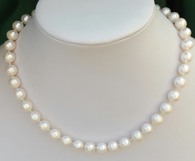 "White cultured pearl 18"" sterling silver necklace"