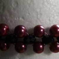 Plum Glass pearl Bracelet with Black crystals