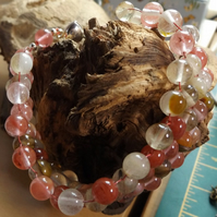 Watermelon Tourmaline quartz and agate bracelet