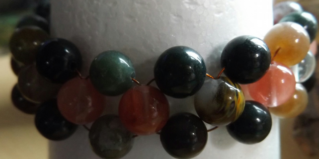 Agate and watermelon tourmaline beaded bracelet