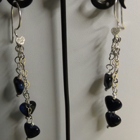 Blue tigers eye chain earrings