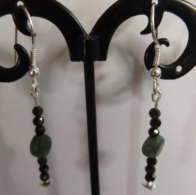 Emerald coin earrings with black faceted spinel