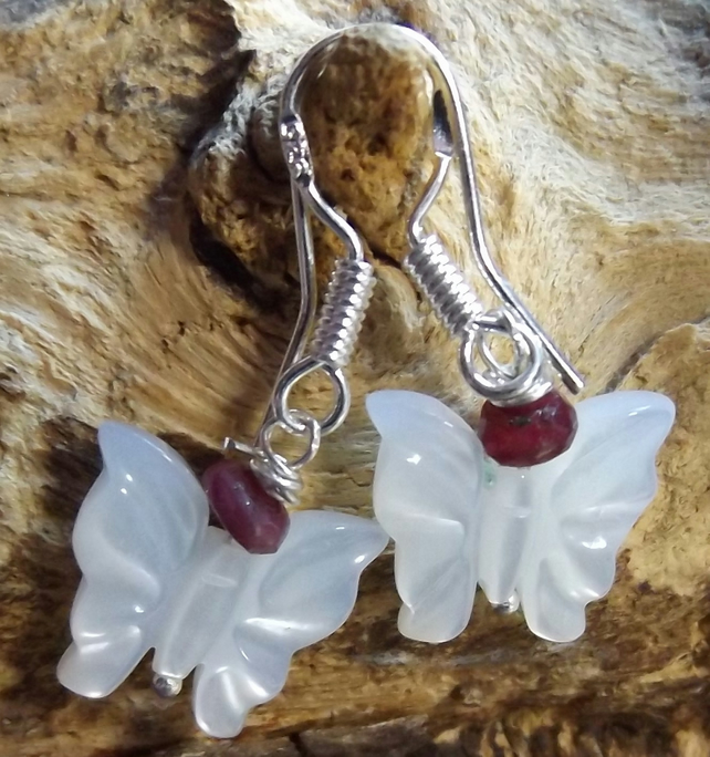 Sterling silver pearl butterfly and ruby earrings