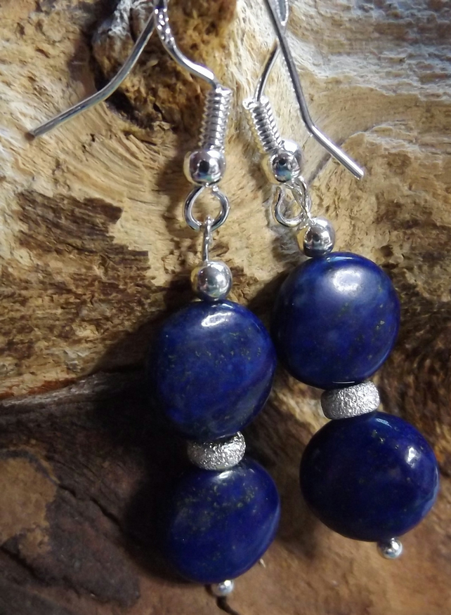 Sterling silver earrings with lapis lazuli