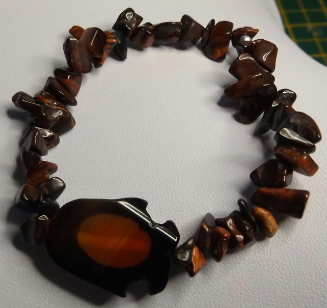 penguin agate charm with red tigers eye bracelet