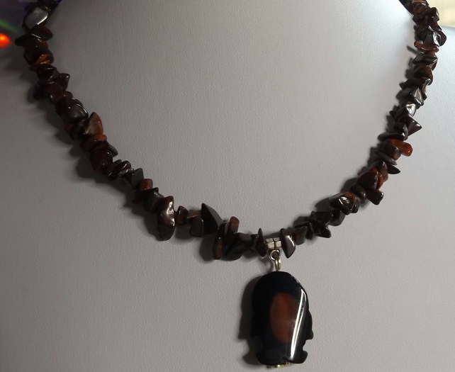 Penguin agate charm with red tigers eye necklace