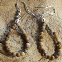 Picture Jasper Sterling Silver Pear Shape Earrings